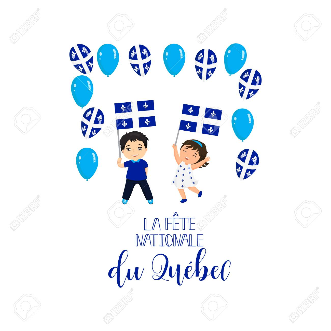 Quebec National Day Greeting Card Template Design Layout For