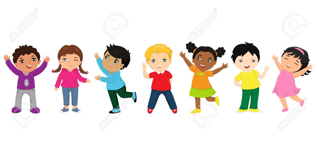 Group of happy kids cartoon. Funny kids of different races with various hairstyles. Friendship concept - 103313634
