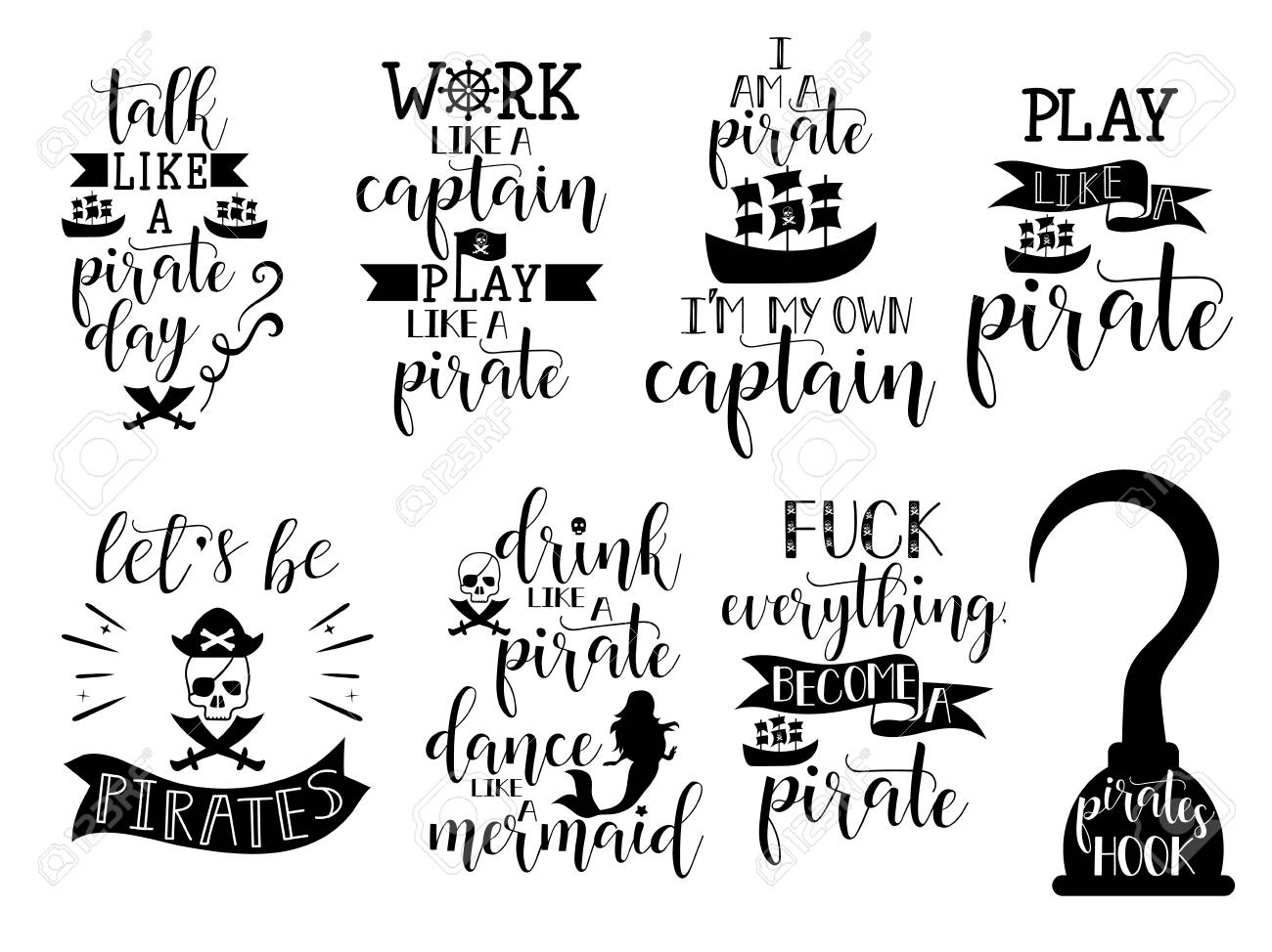 Set About Pirate Lettering For Greeting Cards Decoration Prints And Posters Hand