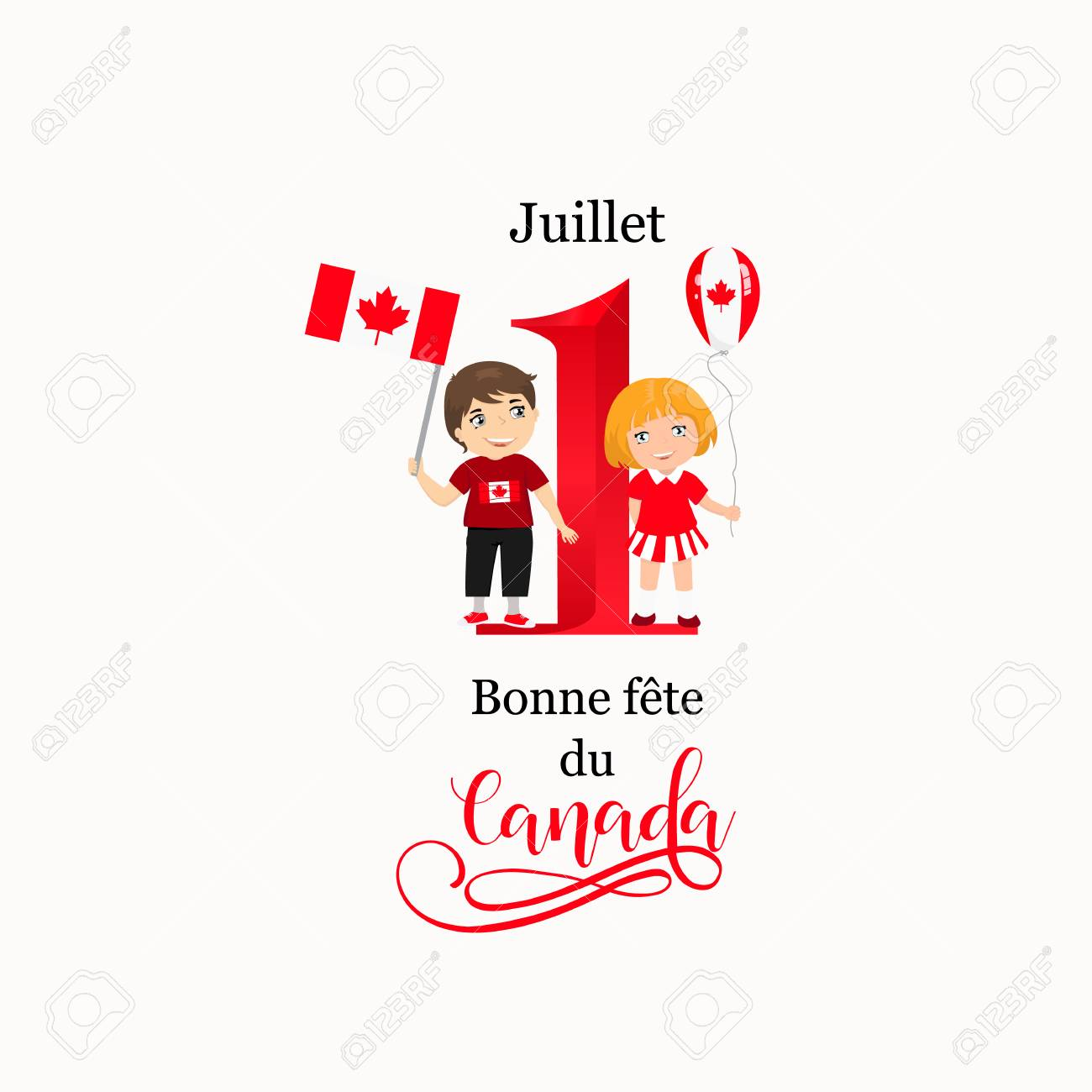 French Text July 1 Happy Canada Day Vector Illustration Greeting