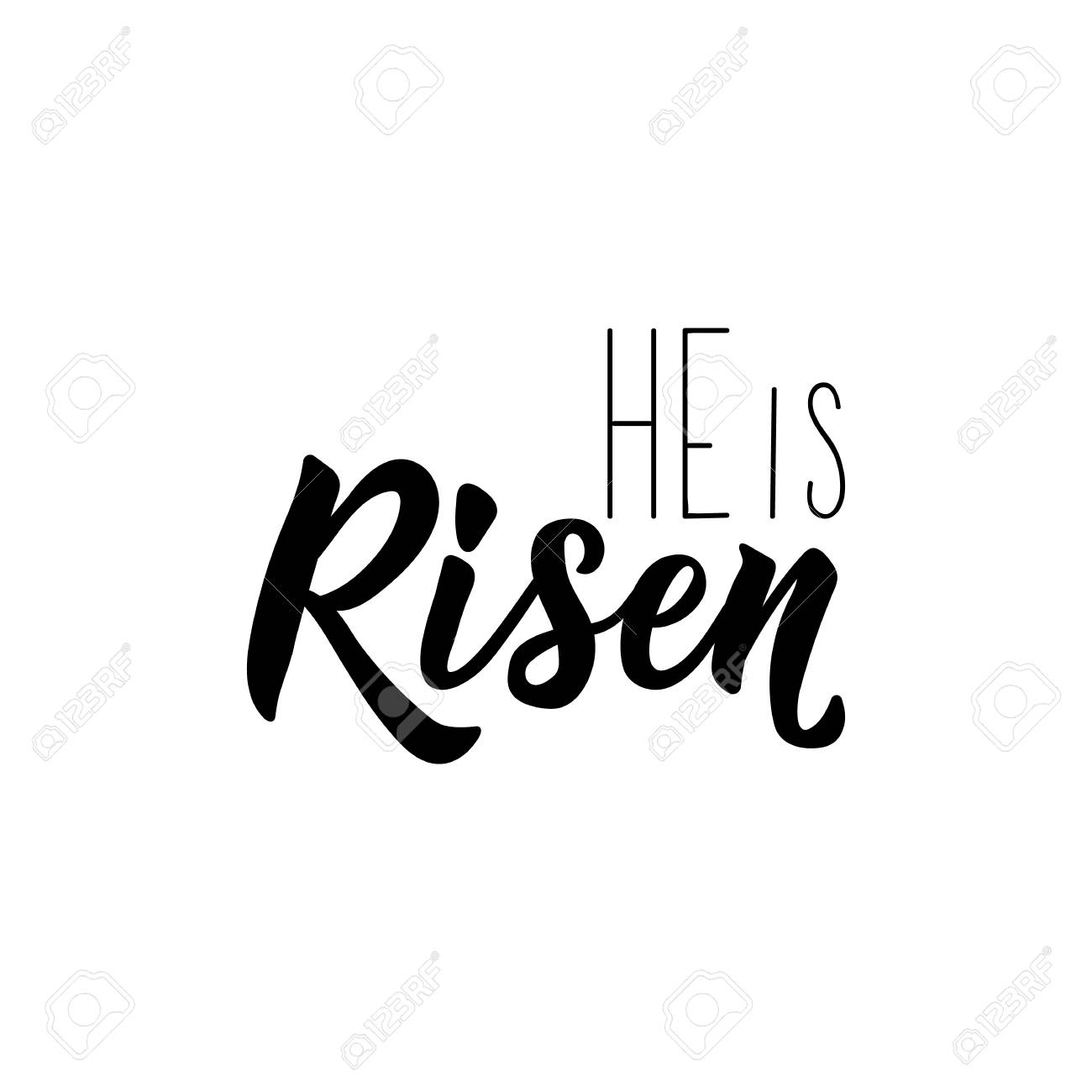 photo relating to He is Risen Printable called He is Risen. Pleased Easter lettering card. estimate toward layout greeting..