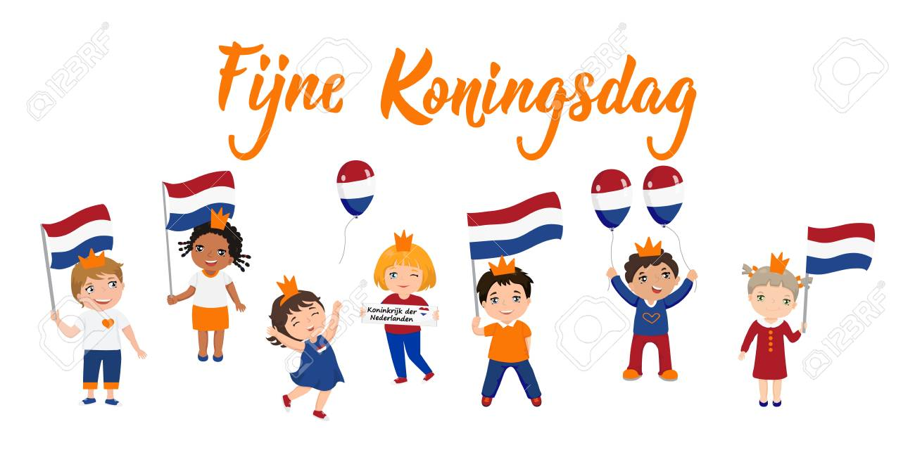 Dutch text: Happy King's Day. Lettering. vector illustration. element for flyers, banner and posters. Modern calligraphy. Fijne Koningsdag. kids logo - 122675102