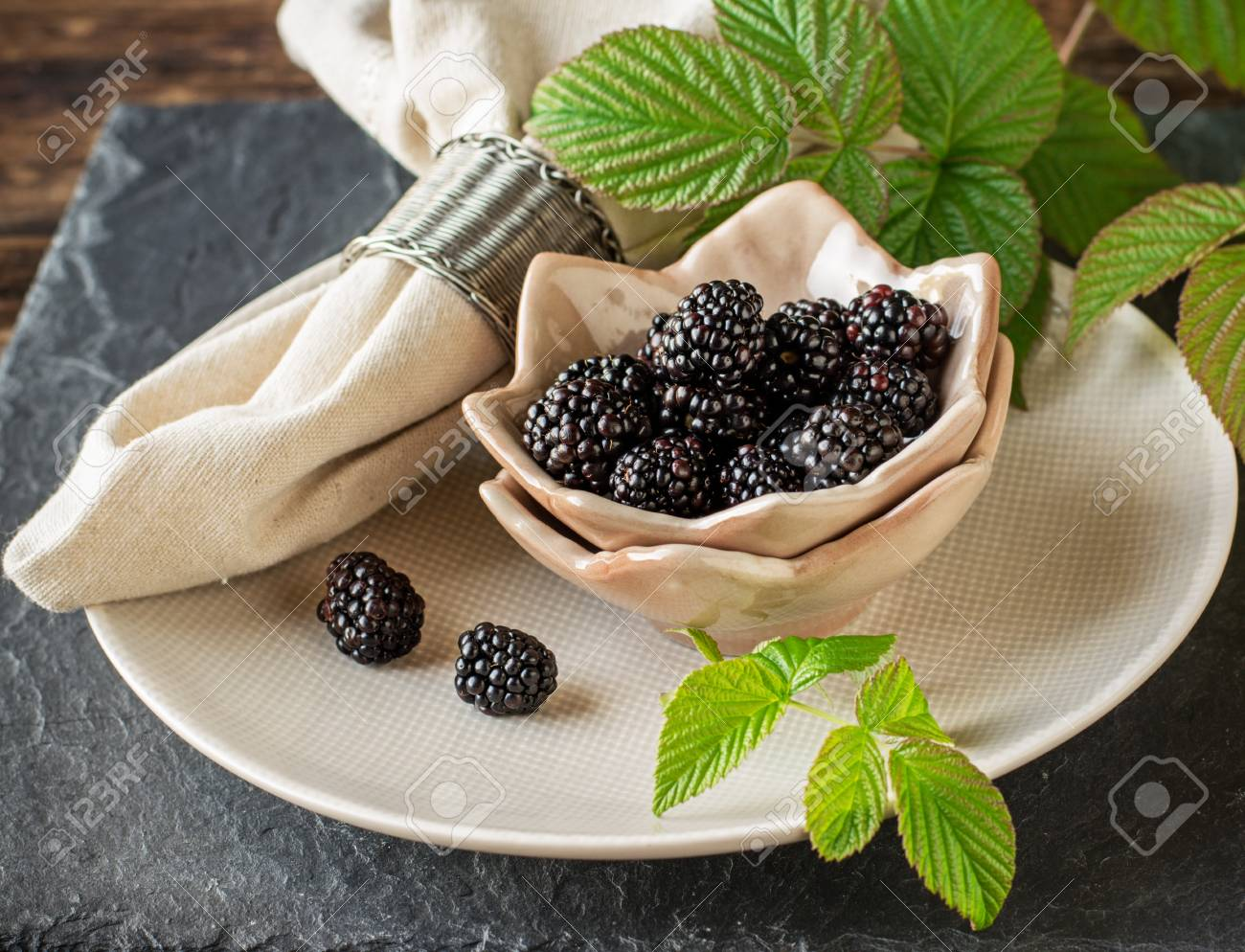 Fresh Ripe Blackberries In Ceramic Cups Handmade Pottery Are Stock Photo Picture And Royalty Free Image Image 44050549