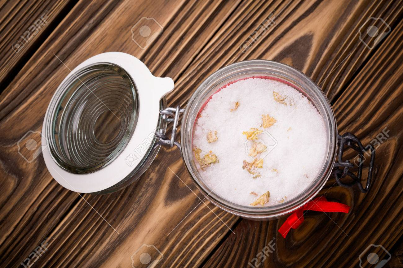 Handmade DIY natural epsom salt body scrub with rose petals and