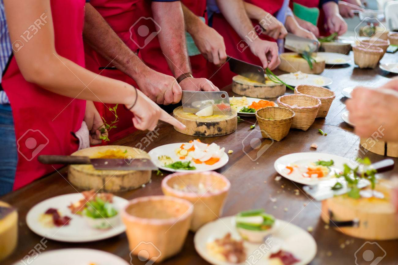 Traditional way of preparing thai food using chopper knife. Picture of traditional thai cuisine made of fresh ingredients taken during cooking class in Chiang Mai. - 78400673
