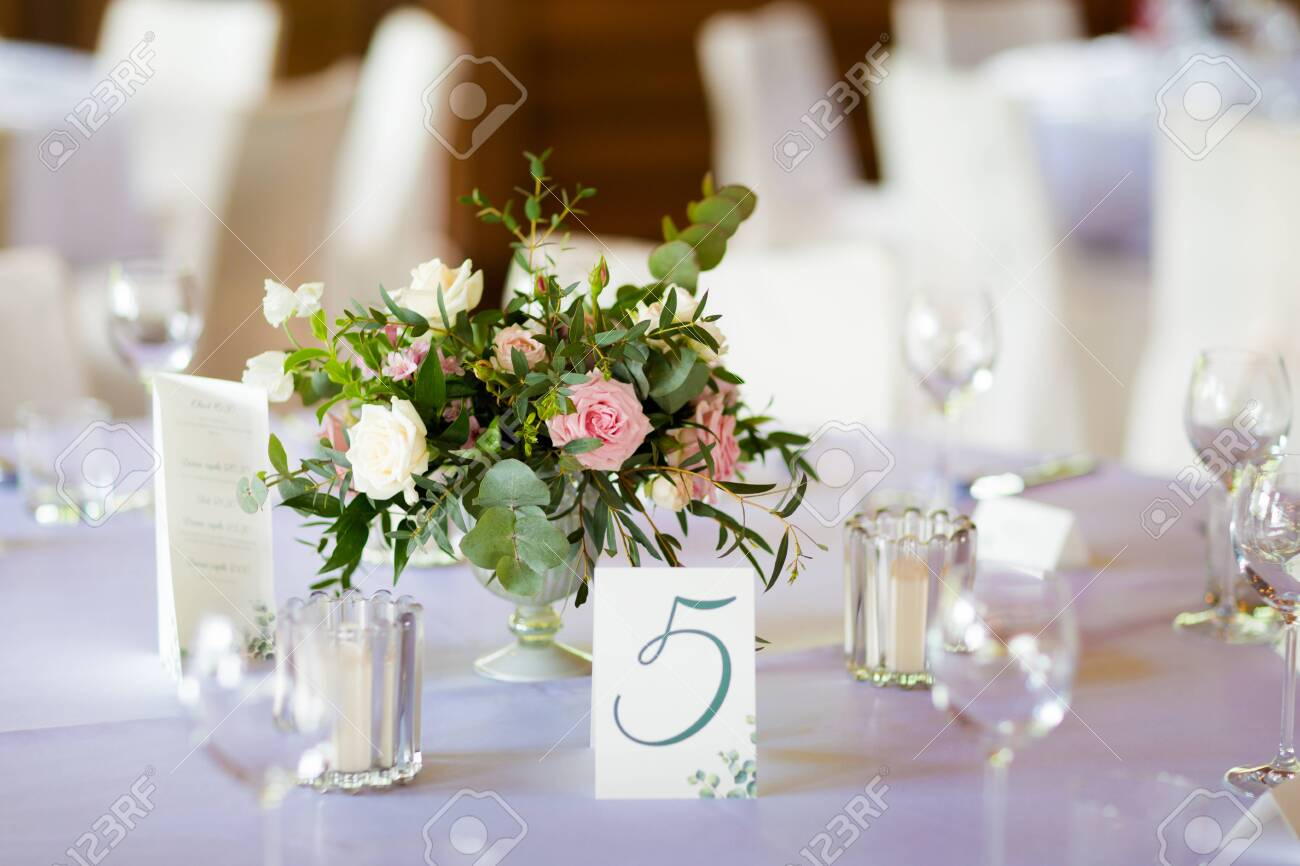 Reception tables beautifully decorated ready for wedding - Bride and Groom. Luxury concept - 121949224