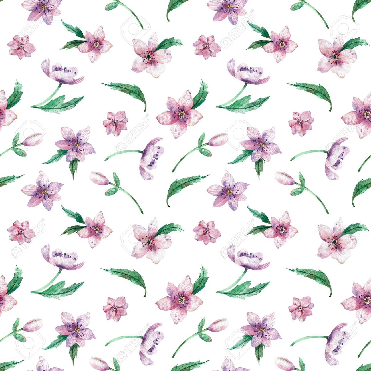 Seamless watercolor floral pattern on a white background. Beautiful summer background for your design and print. - 130501761