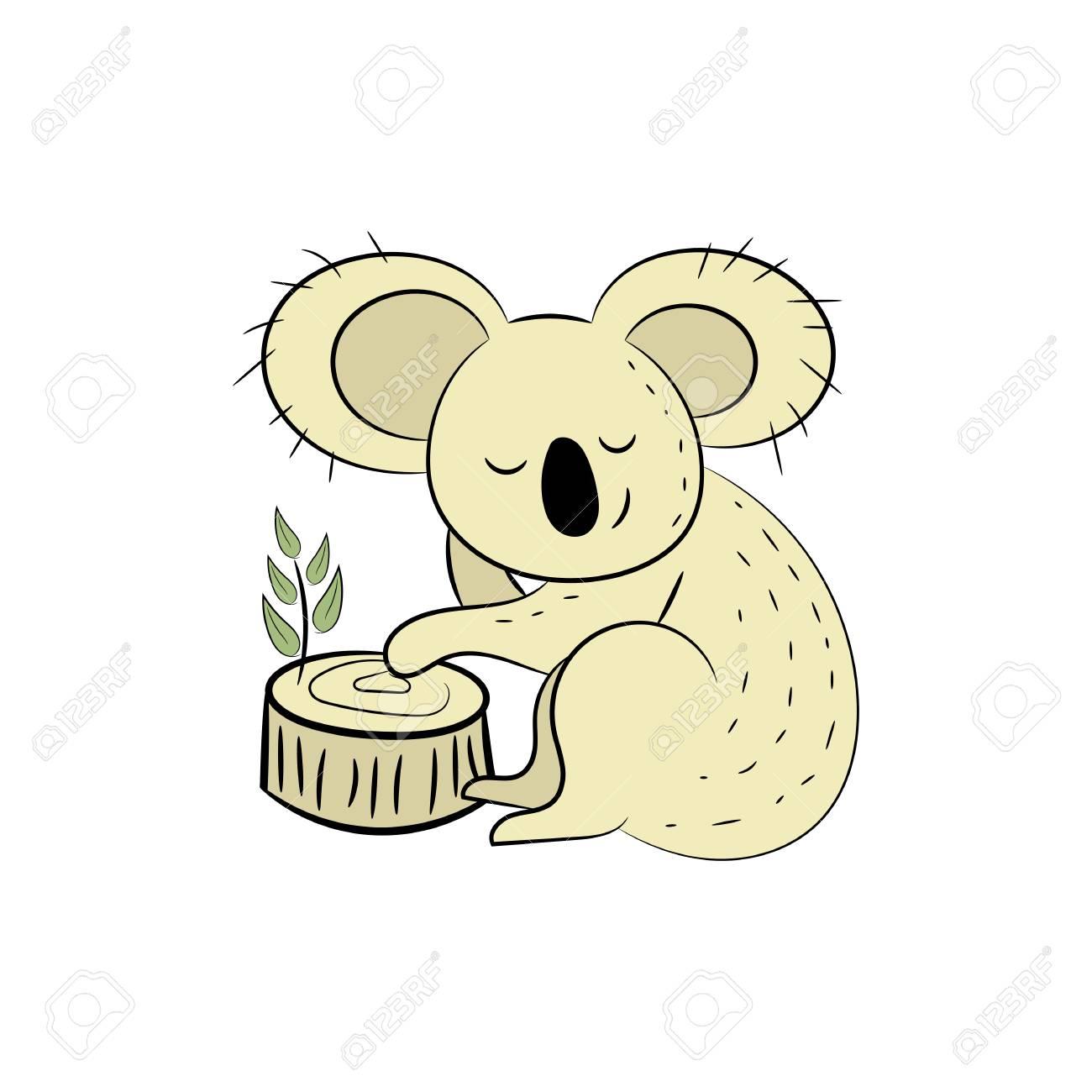 Koala, Una Ilustración De Vector Dibujado A Mano De Un Lindo Koala ...