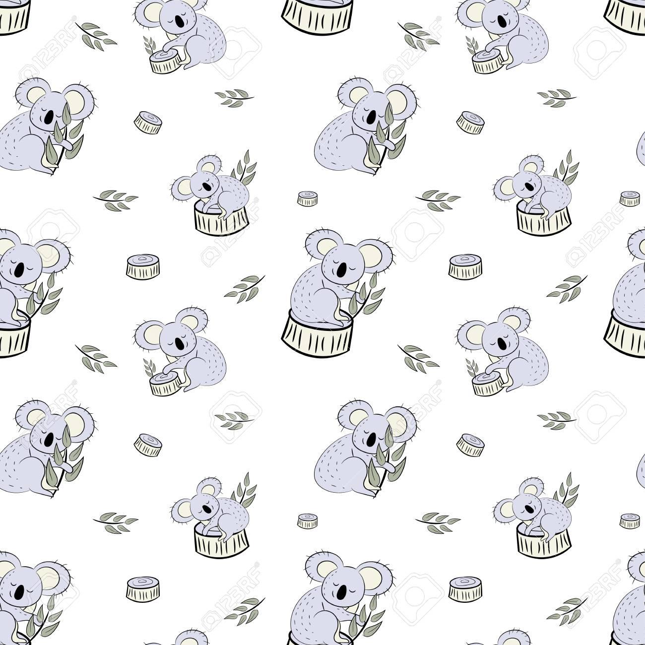Ours Mignon Koala Doodle Modele Sans Couture Fond De Vecteur Avec Des Koalas Peut Etre Utilise Pour Le Textile De Bebe Tshirt Fonds D Ecran