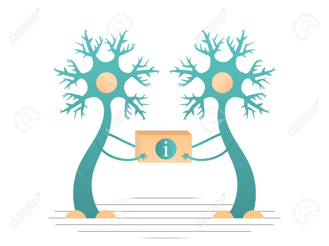 Neurons transmit information to the brain. Vector flat illustration - 126020104