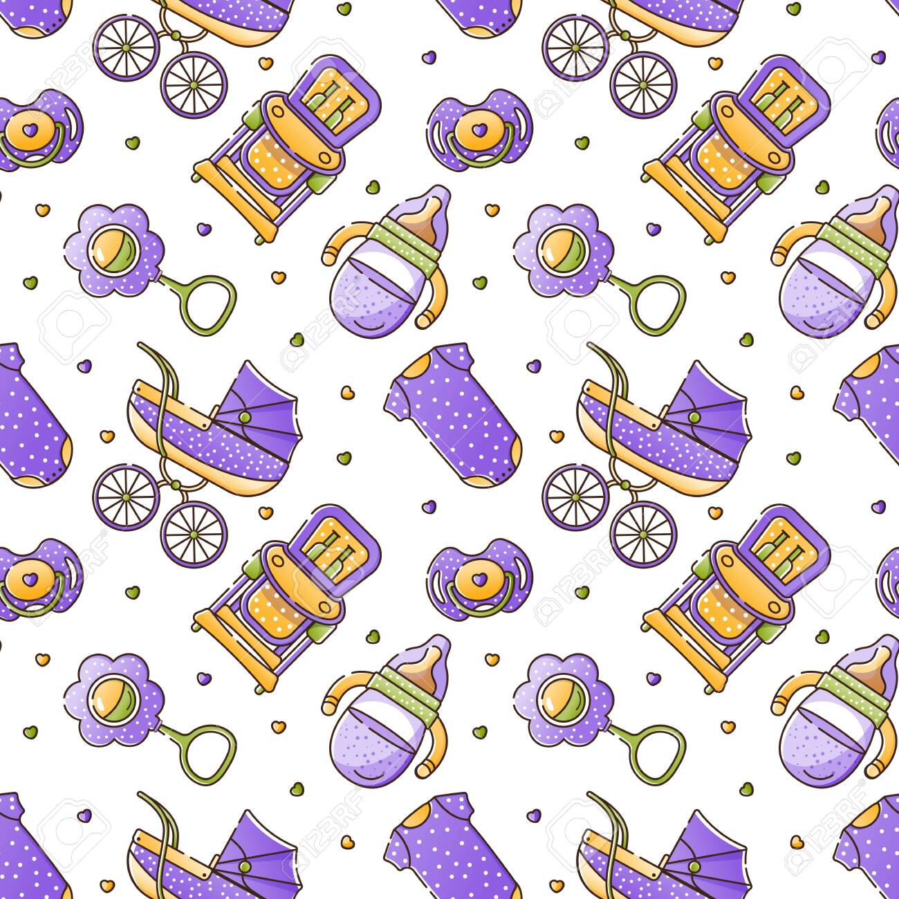 Vector Seamless Color Pattern With Baby Accessories For Newborn Royalty Free Cliparts Vectors And Stock Illustration Image 144721937