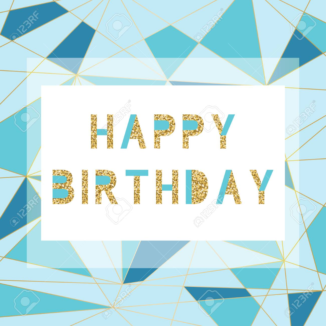 happy birthday card template in modern geometrical style. gold