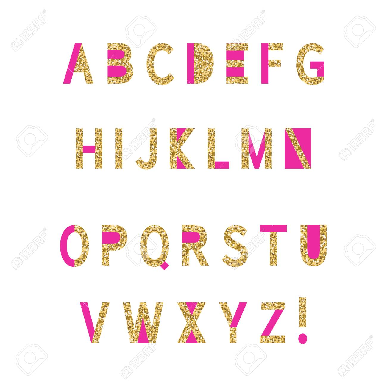 Pink And Gold Glitter Alphabet On White Background. Perfect For ...