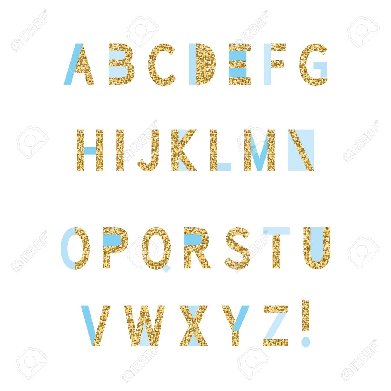 Blue And Gold Glitter Alphabet On White Background. Perfect For ...