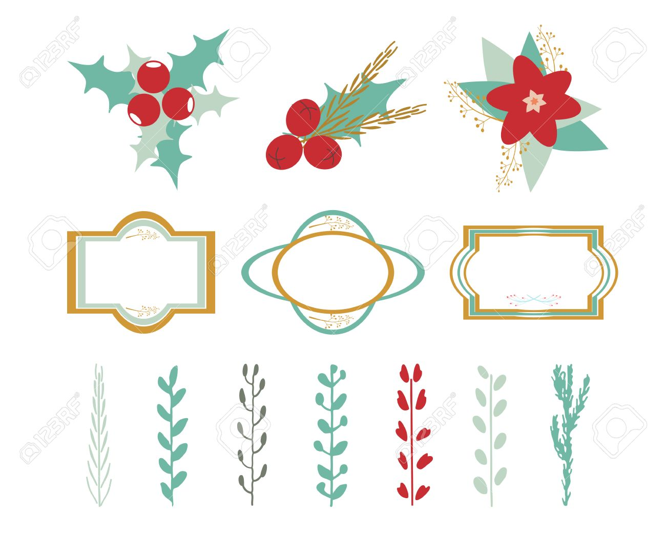 Christmas Decor Elements: Branches, Leaves, Flowers, Frames ...