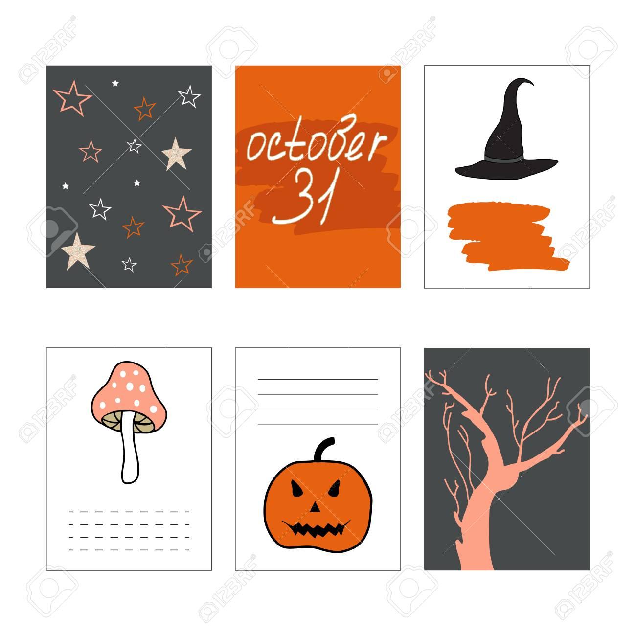 cute halloween cards set vector illustration journaling cards pumpkin tree mushroom