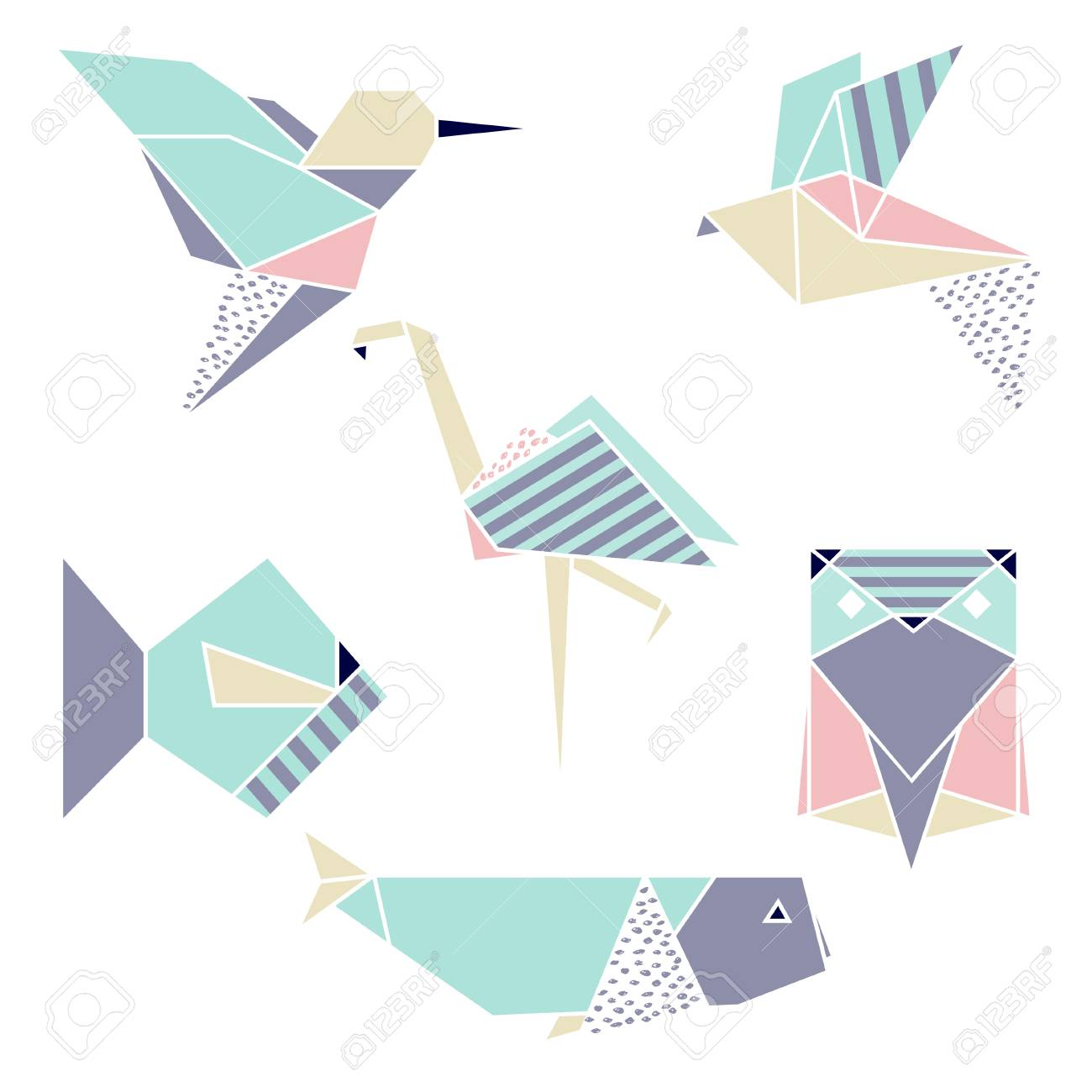 Vettoriale Set Geometrico Origami Fenicottero Colibrì Pesce