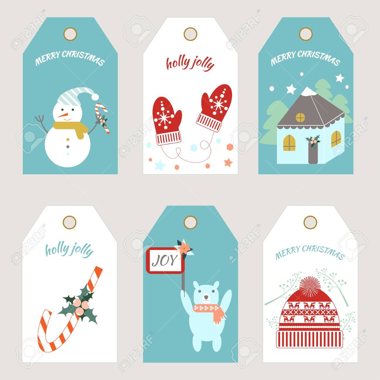 Christmas Tag Template.Christmas Tags Vector Illustration Tags Template
