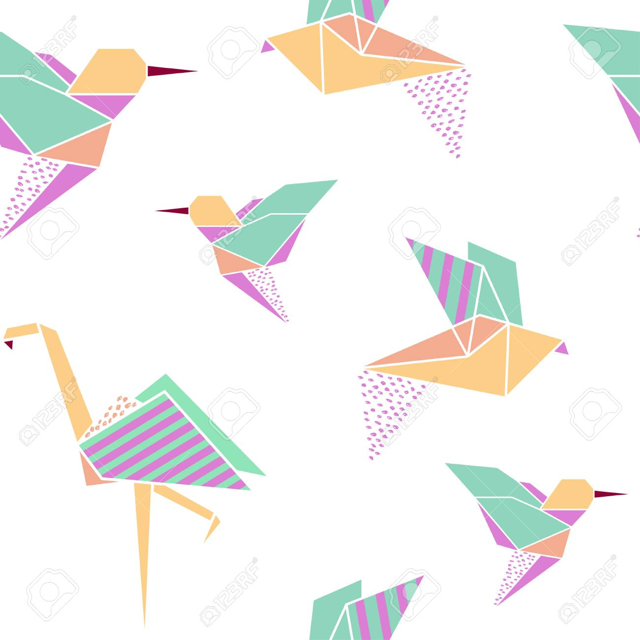 Origami Birds Seamless Pattern Japanese Background Geometrical Style Vector Illustration Stock