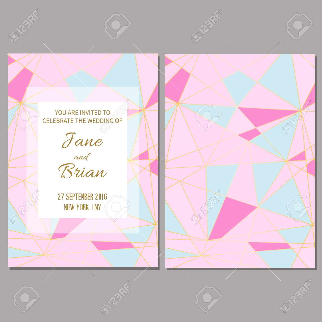 Save the date card wedding invitation template geometric polygonal wedding invitation template geometric polygonal trendy design vector illustration stopboris Choice Image