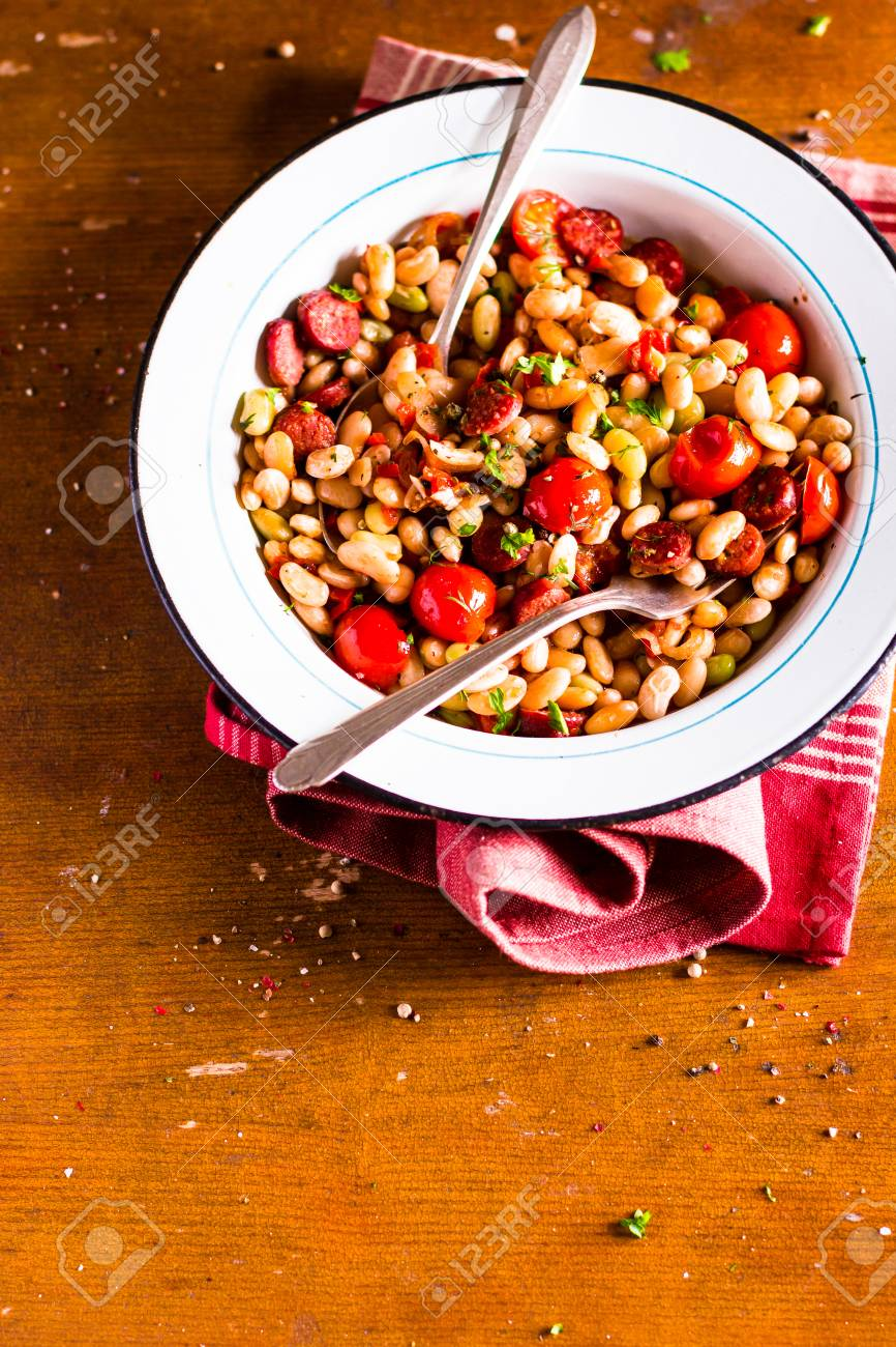 Watch Sausages with White Bean, Cherry Pepper, and Scallion Relish video