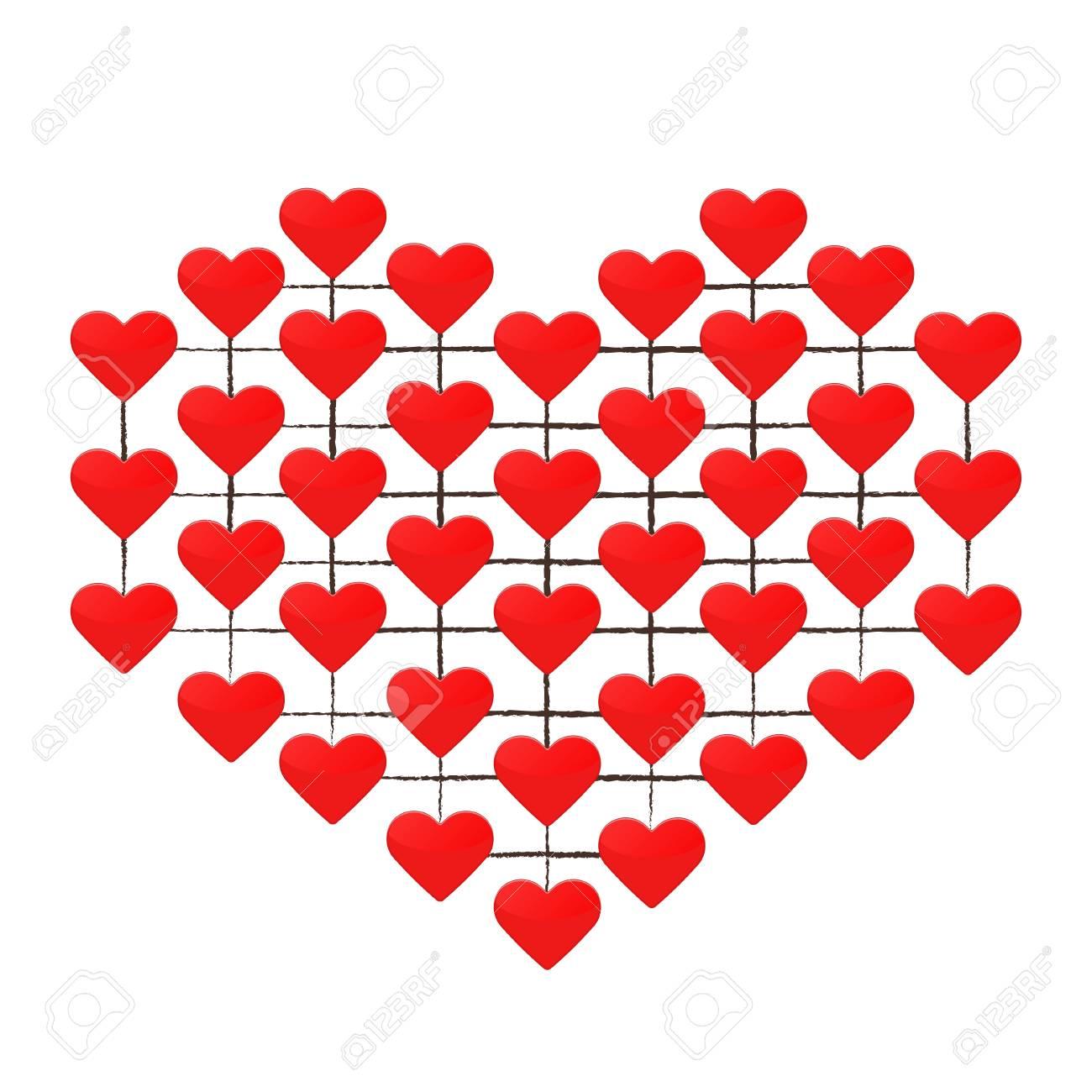 Corazón Hecho De Muchos Corazones Rojos Sobre Un Fondo Blanco