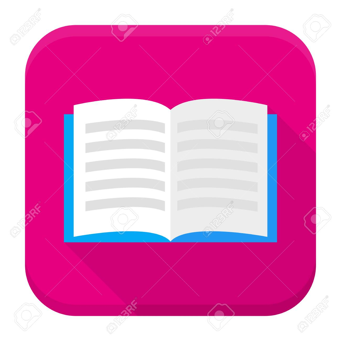 Flat style vector squared app icon  Open book app icon with long
