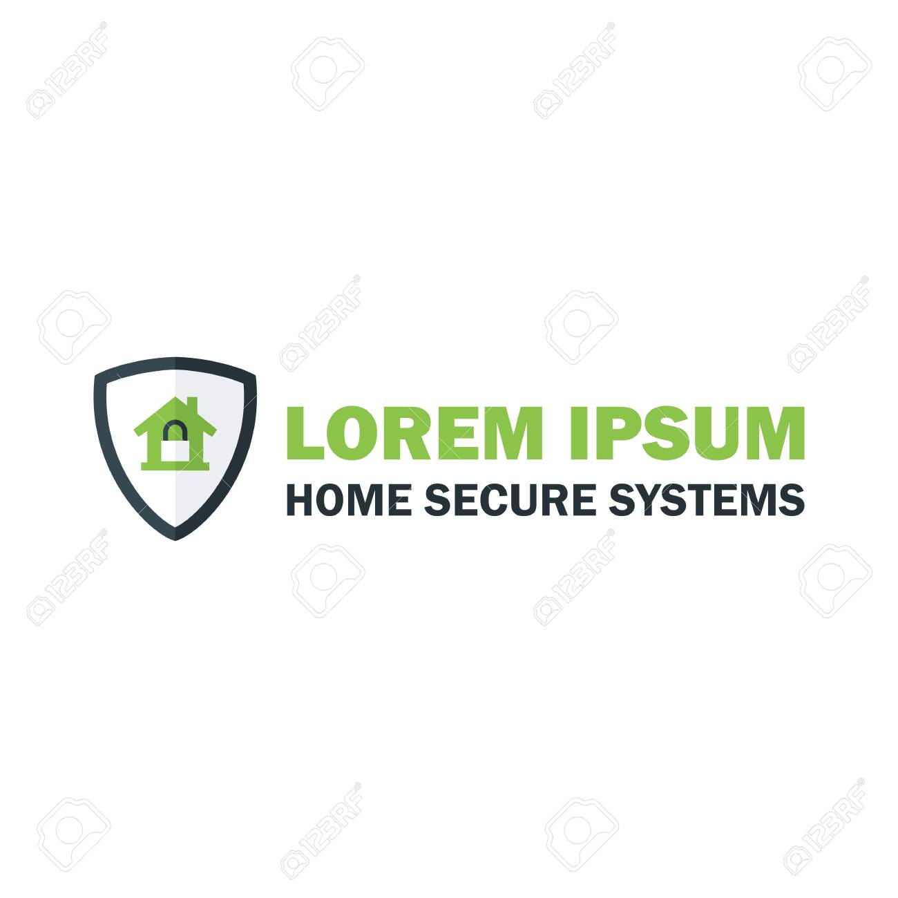 Green Home Security System With Padlock. Vector Design Concept ...