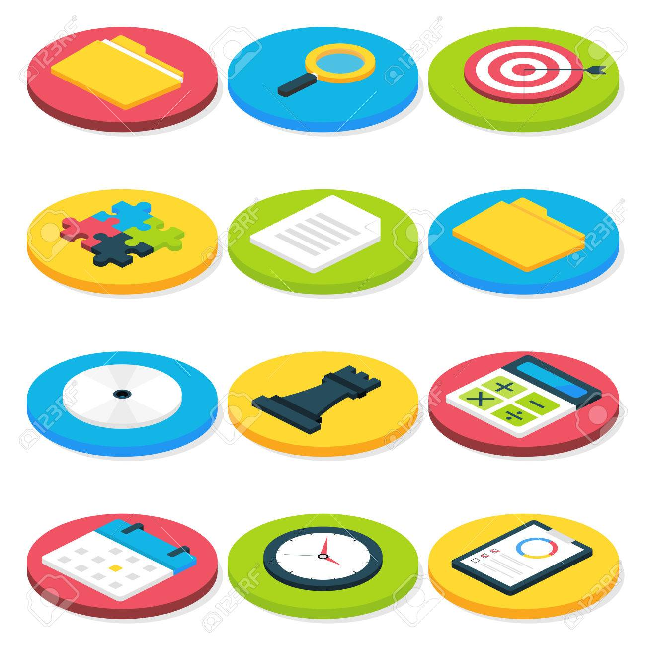 flat isometric circle business icons set vector business concepts and office life icons set stock business concepts business life office