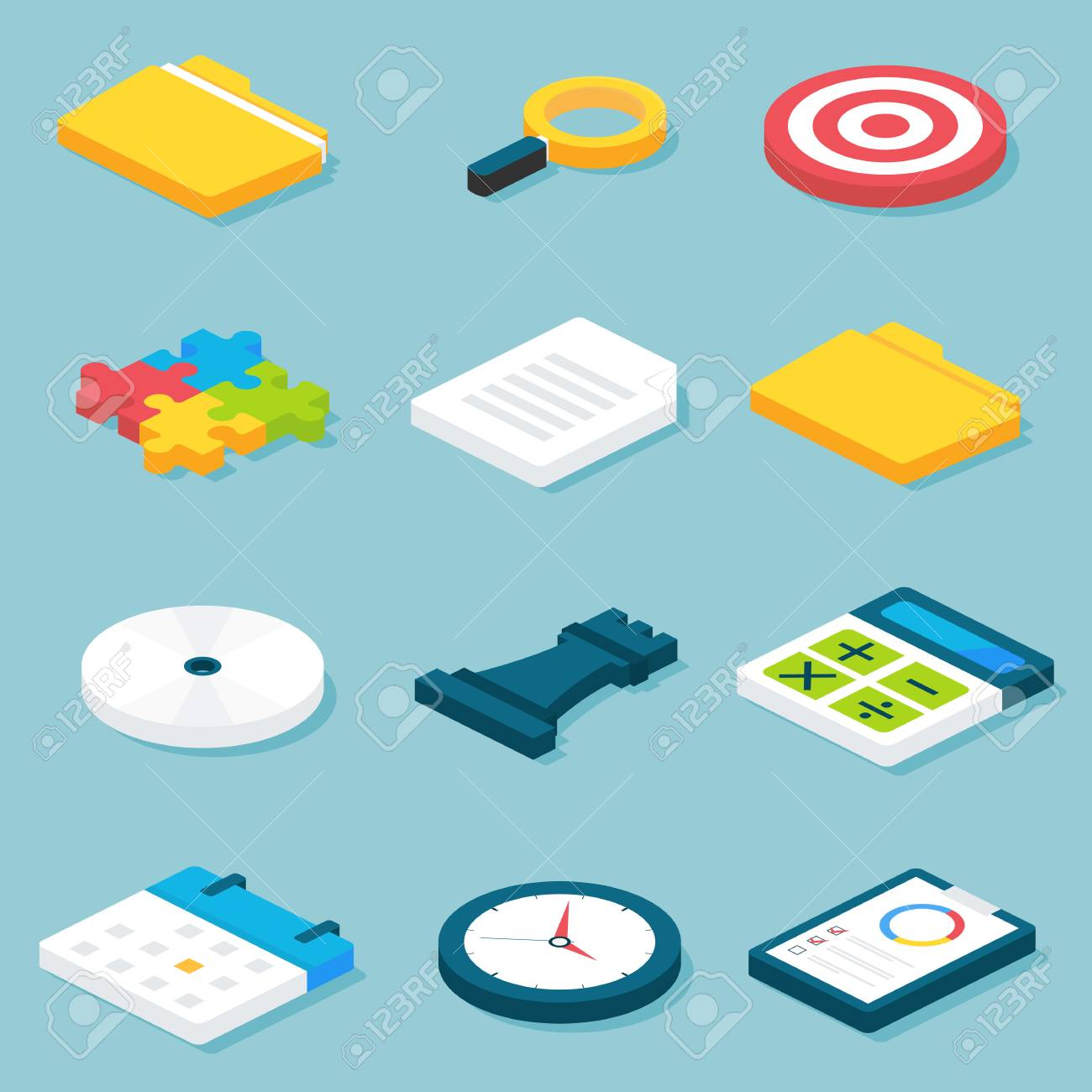 flat isometric business objects set vector illustration of office life and business concepts objects set business concepts business life office
