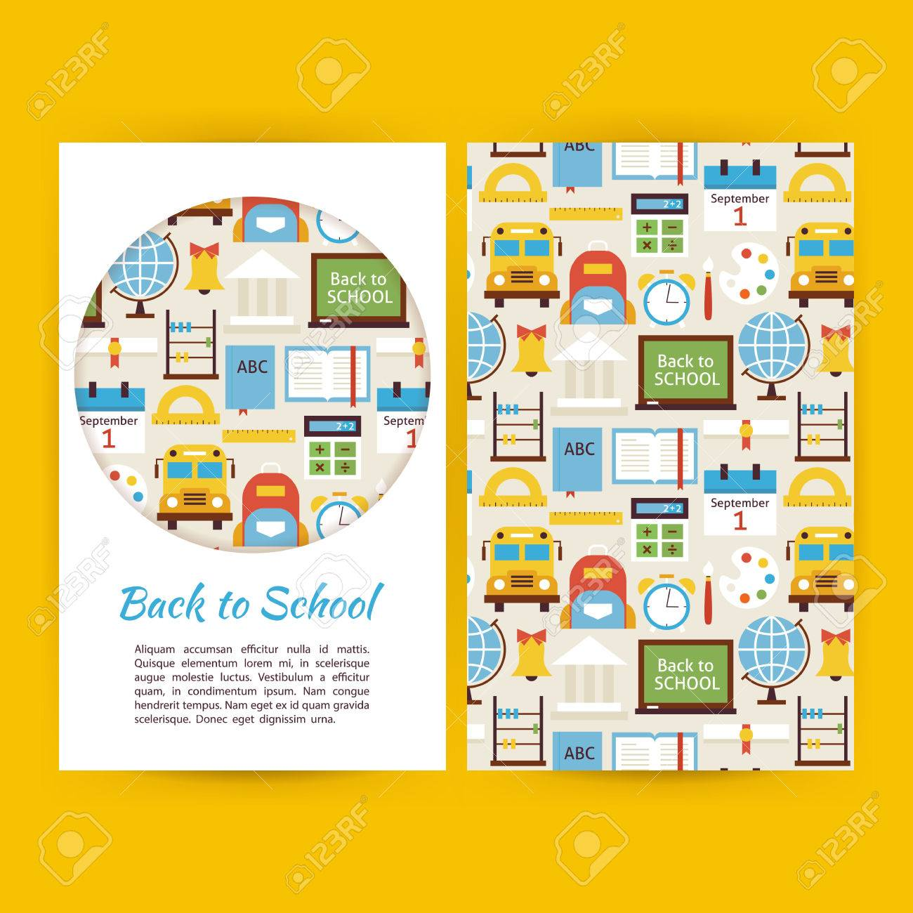 Back To School Business-Banner Set Vorlage. Flach Art Vector ...