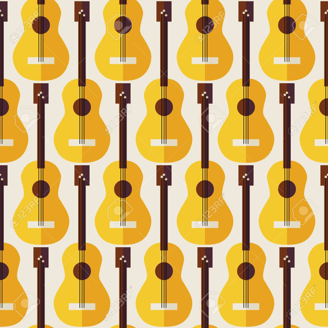 pattern music instrument guitar flat style vector seamless texture