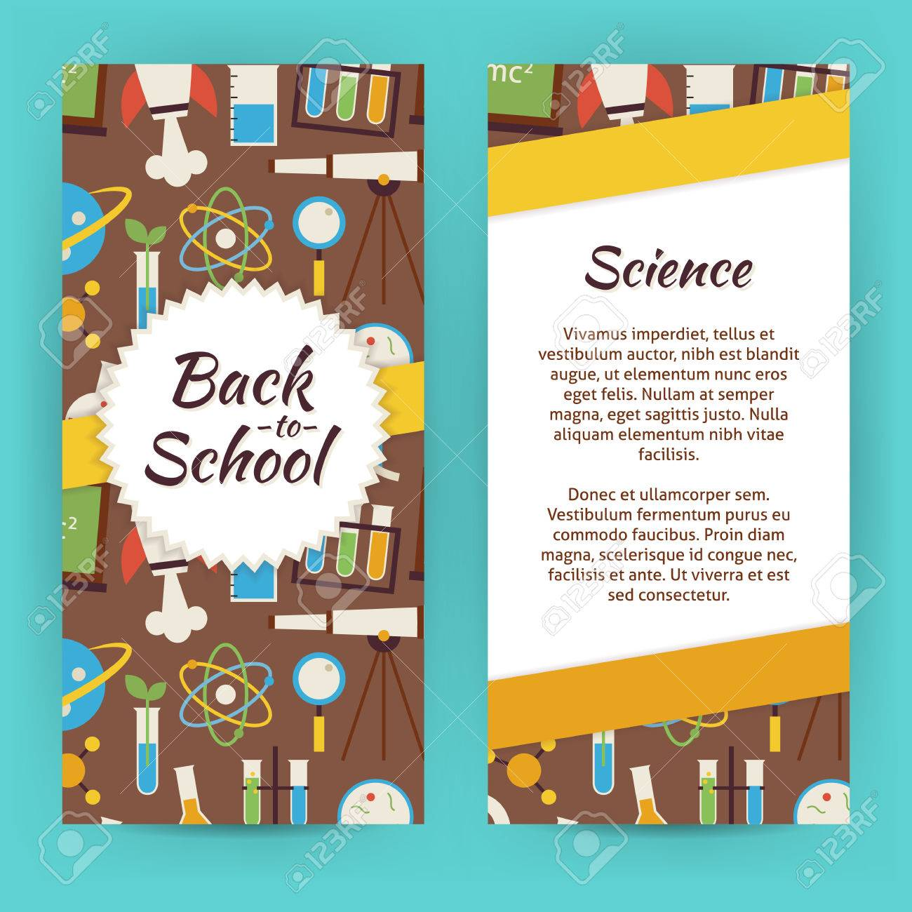 flyer template of school knowledge science and education objects