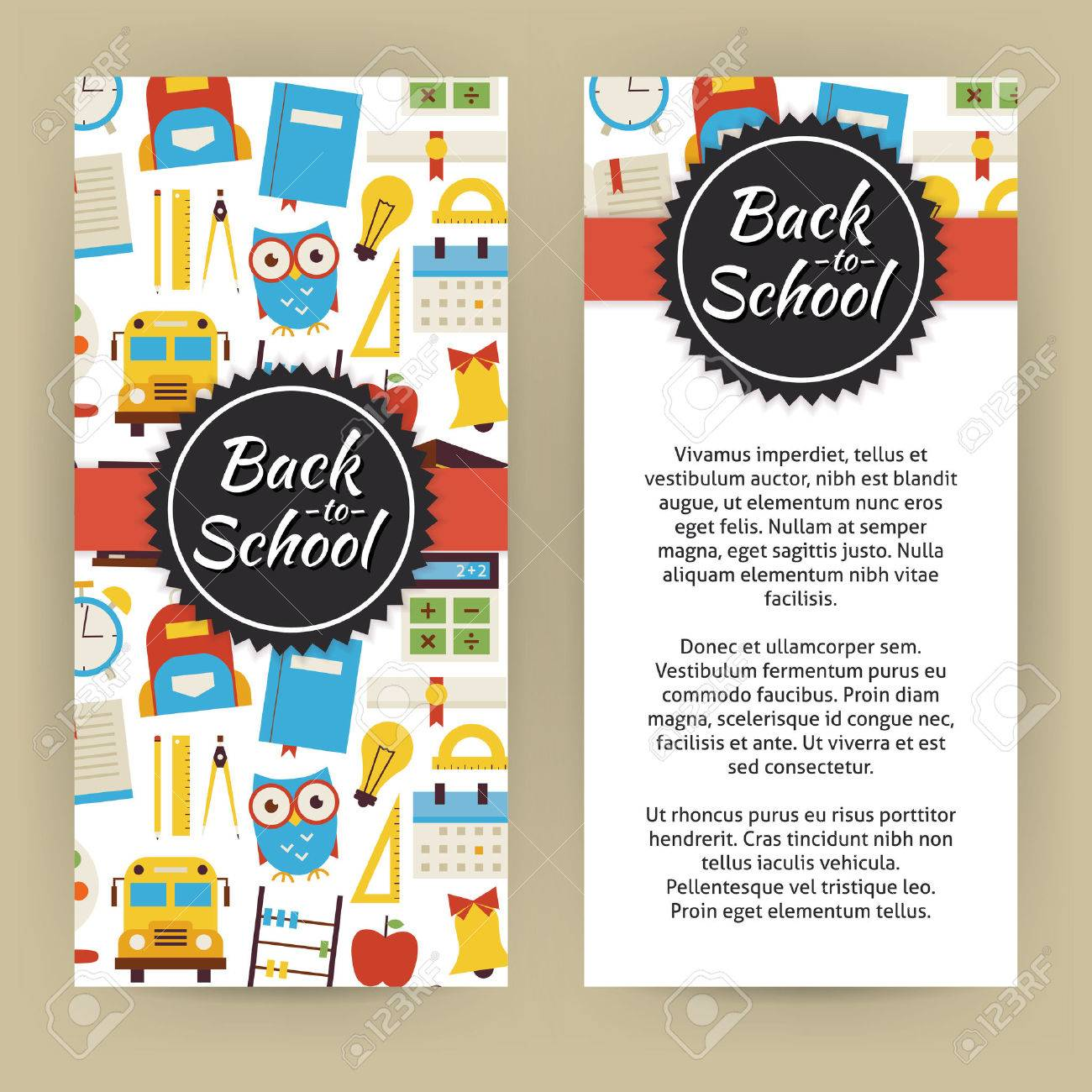 Flyer Template Of Back To School And Education Objects And Elements