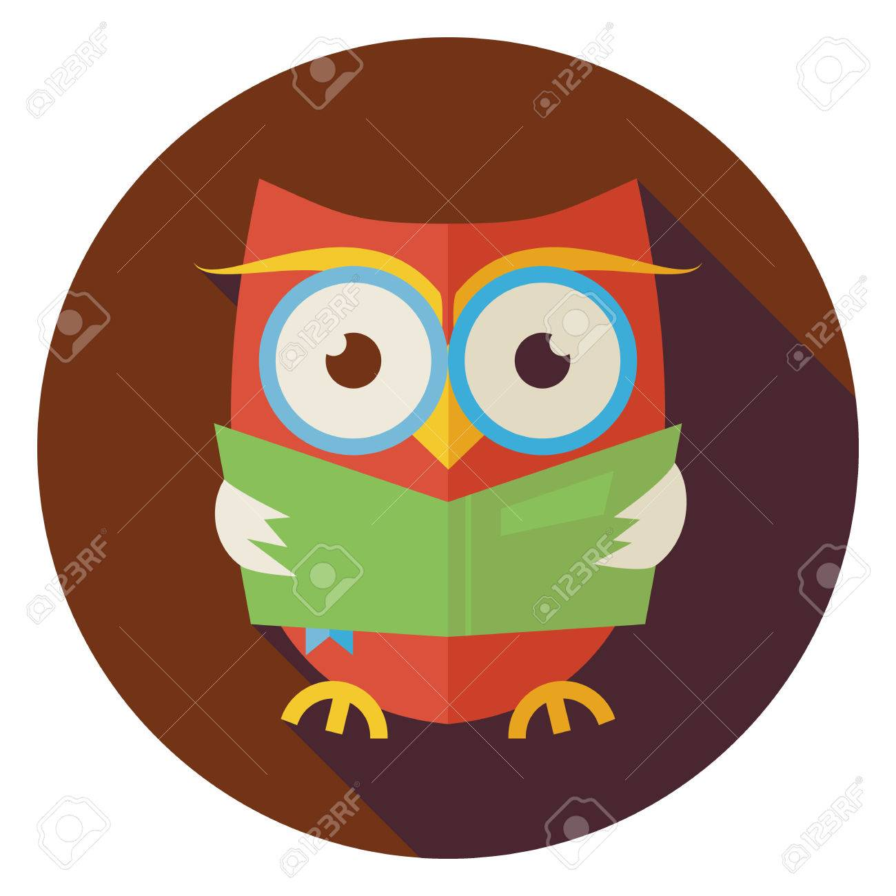 flat design wisdom bird owl reading book circle icon with long rh 123rf com owl reading log to print Black and White Owl Reading