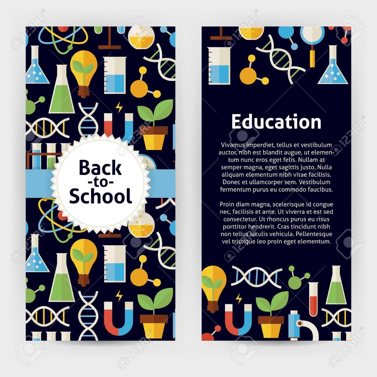 Flyer Template Of Back To School Science And Education Objects ...