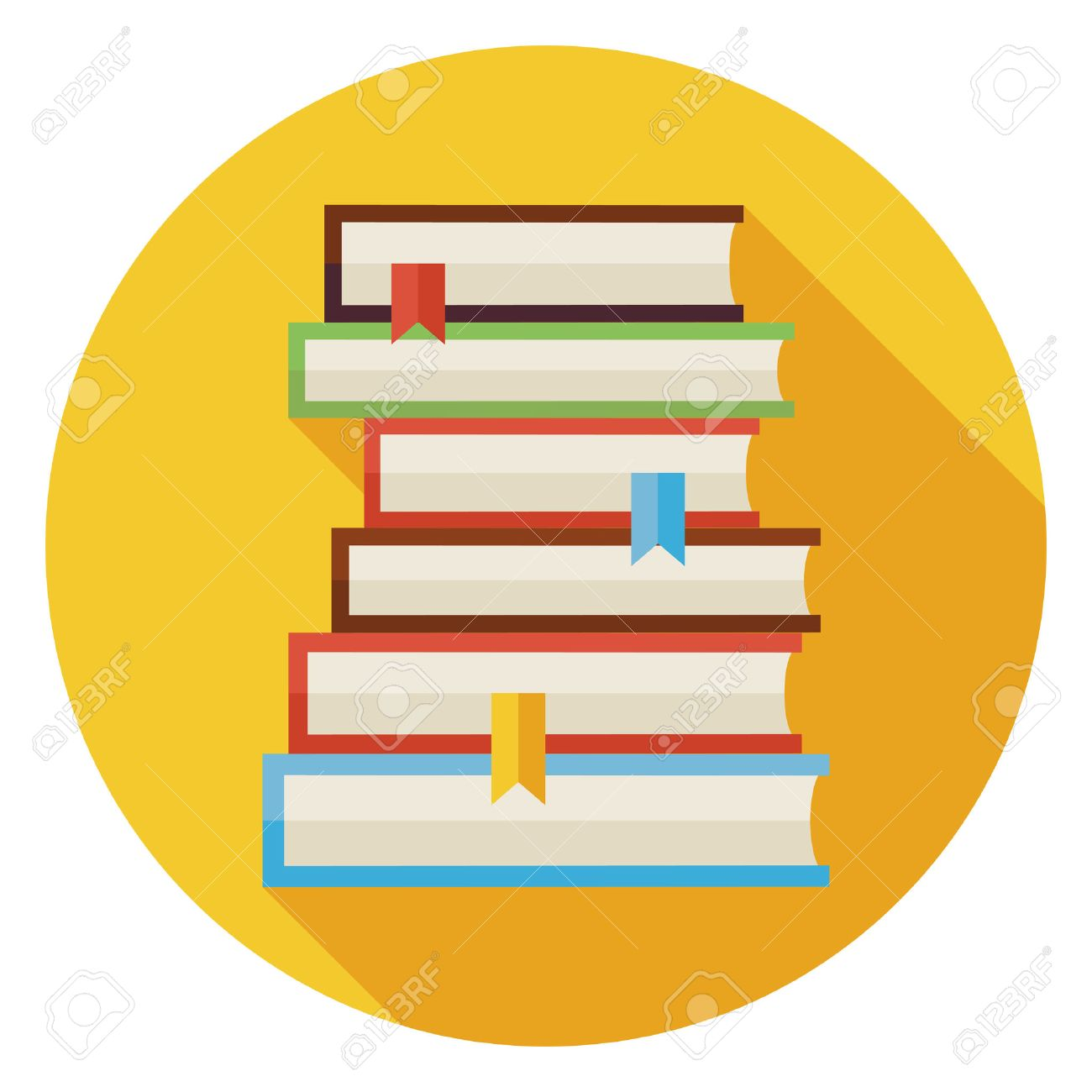 Flat books with bookmarks circle icon with long shadow back flat books with bookmarks circle icon with long shadow back to school and education biocorpaavc Images