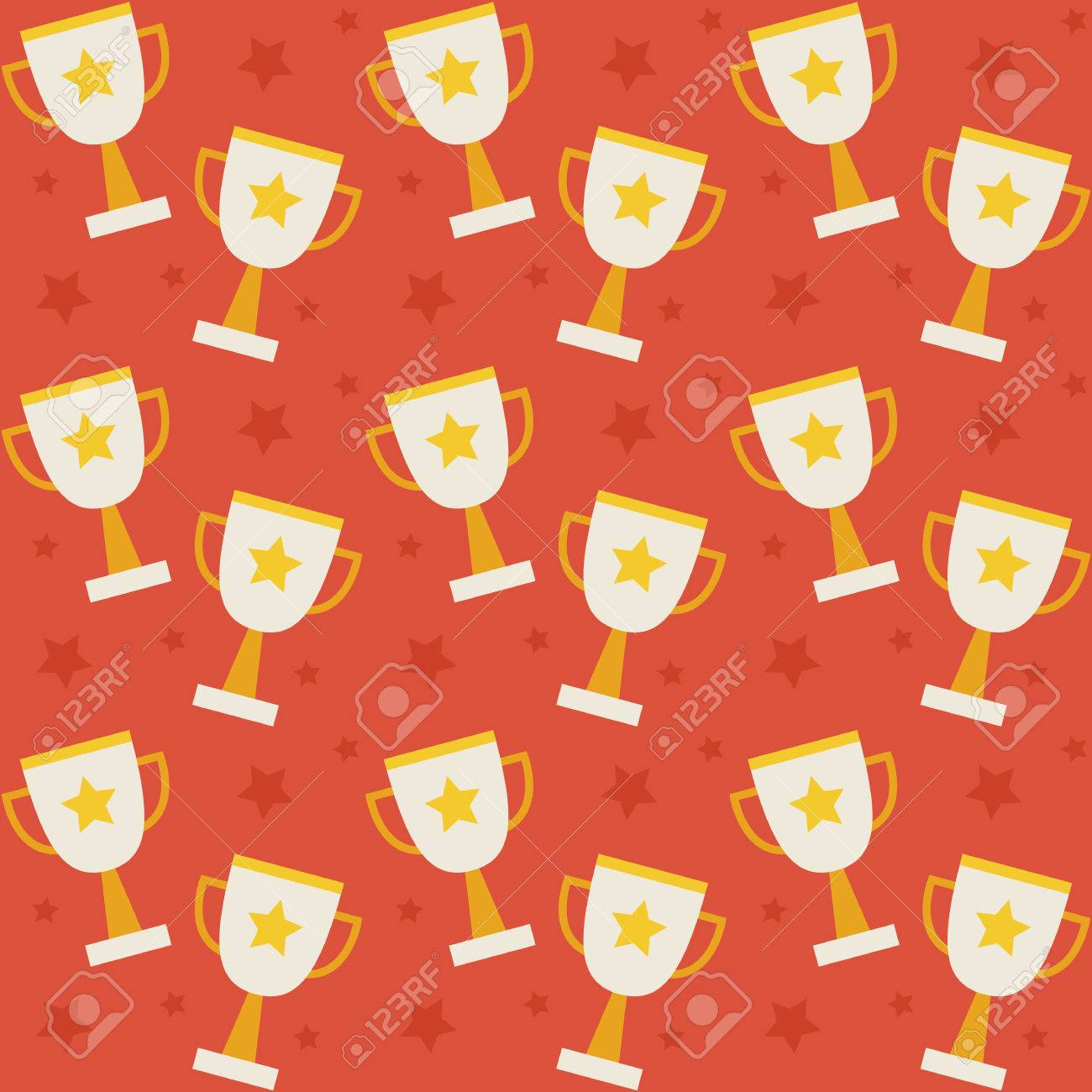 Flat Vector Seamless Pattern Sport Competition Trophy Winning Style Texture Background Sports And