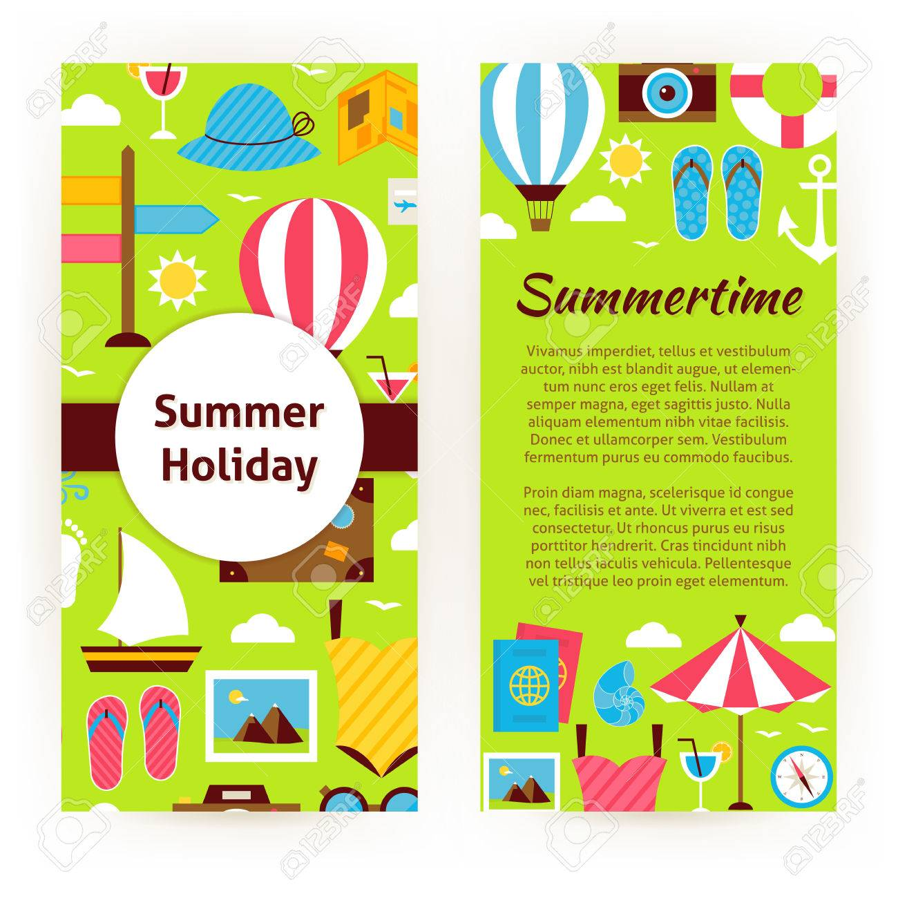 Vector Flyer Template Of Flat Design Summer Holiday Concept Objects