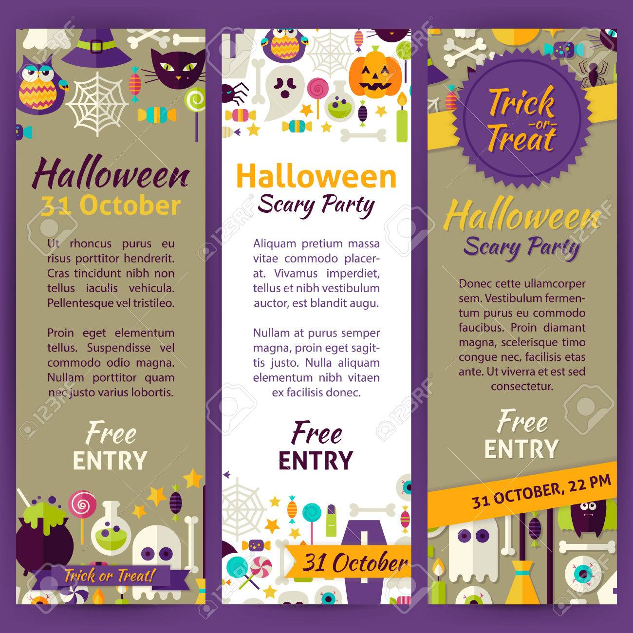 trick or treat halloween party invitation template flyer set