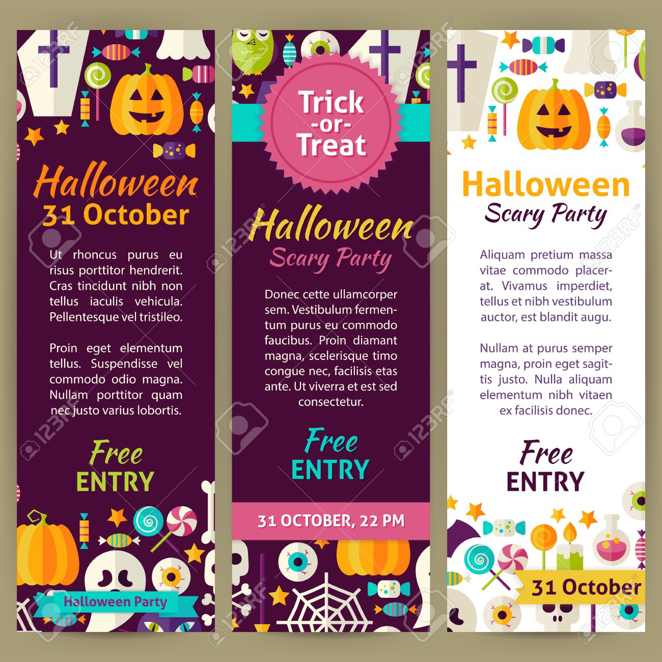 Halloween Holiday Party Invitation Template Flyer Set Flat Design – Party Invitation Flyer