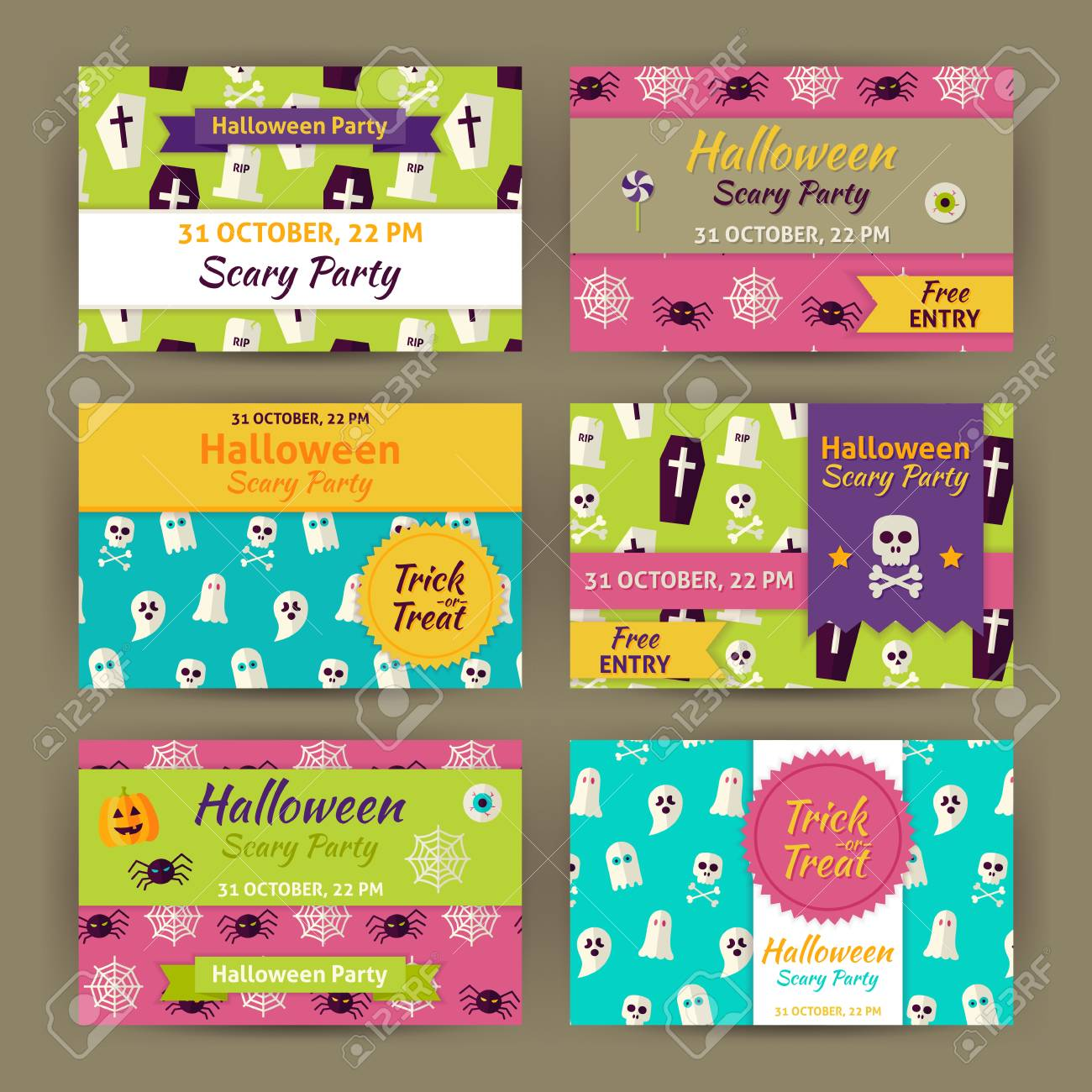 halloween party invitation template set flat design vector