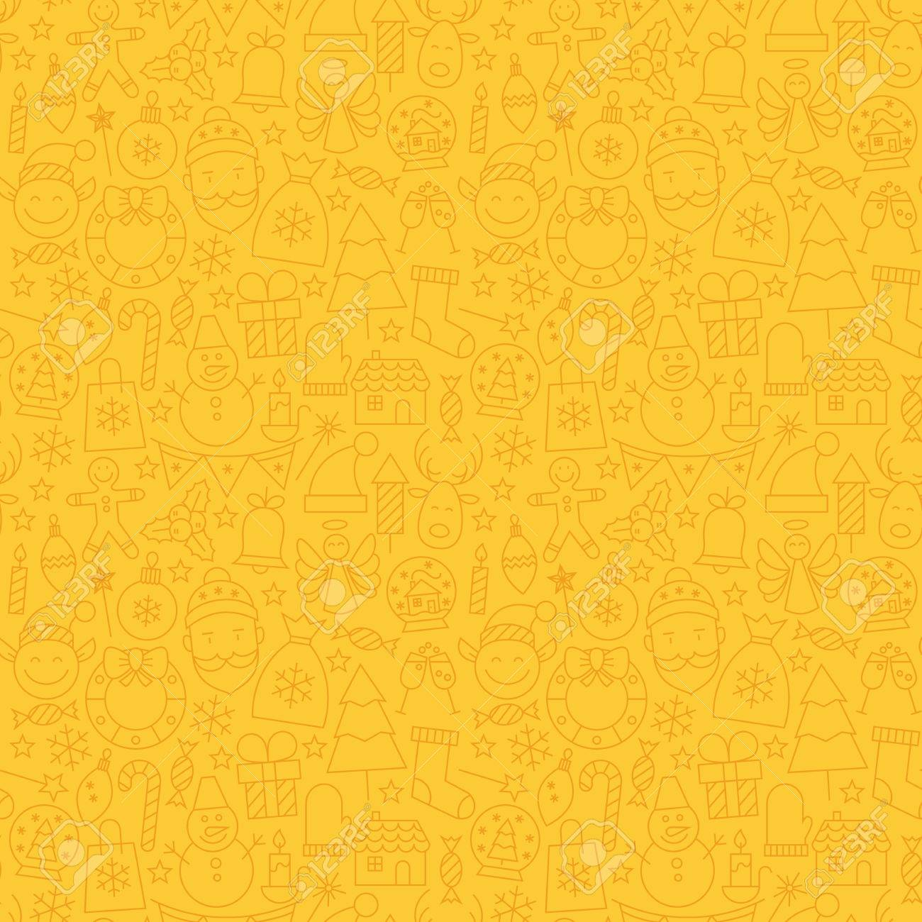 line art happy new year seamless yellow pattern vector winter party design background in modern