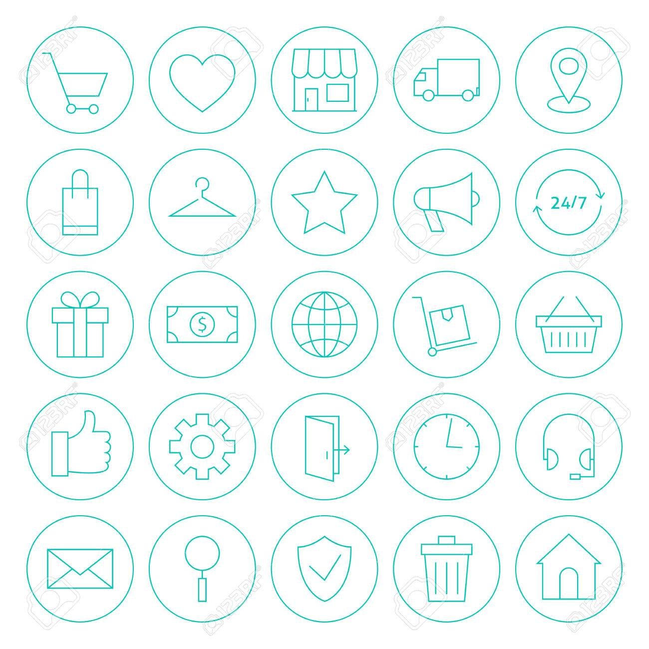 E commerce background images - Line Circle Online Shopping E Commerce Website Icons Set Vector Set Of Store Market