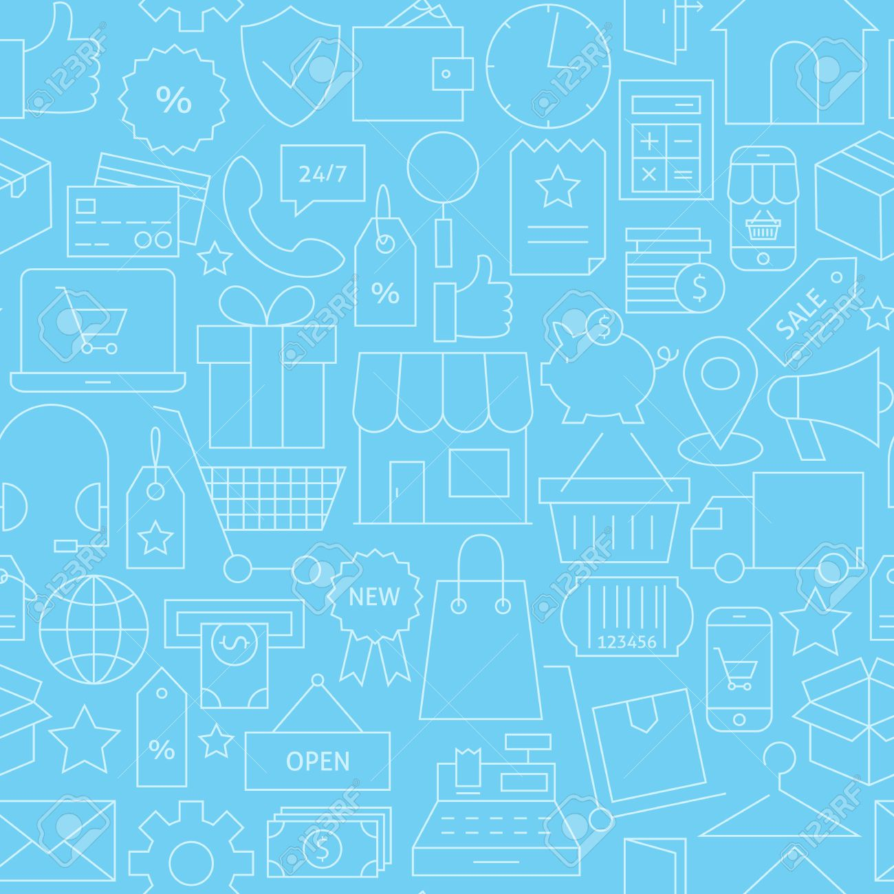 E commerce background images - Thin Line Retail E Commerce Online Business Seamless Blue Pattern Vector Shopping And Marketplace