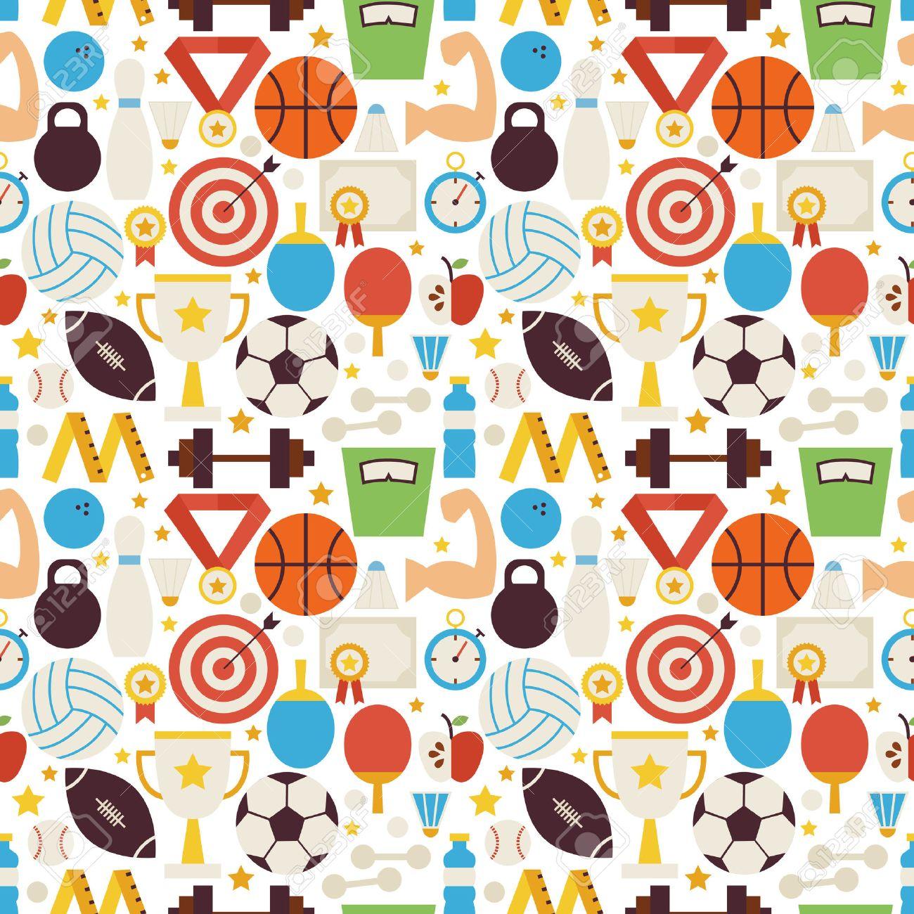 スポーツ競技フィットネス ベクターのシームレスなパターン。スポーツ