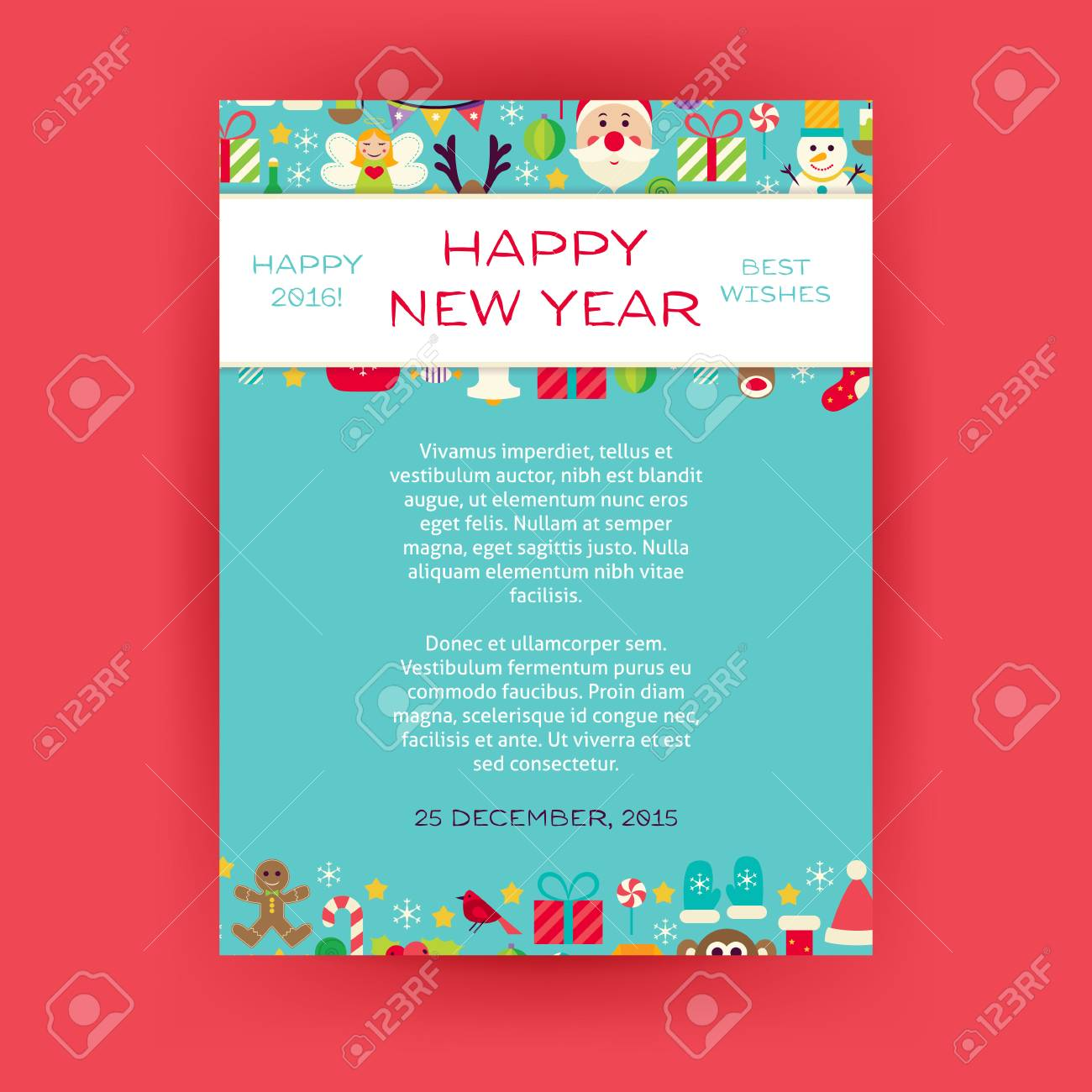 happy new year invitation template flyer flat design vector illustration of brand identity for merry