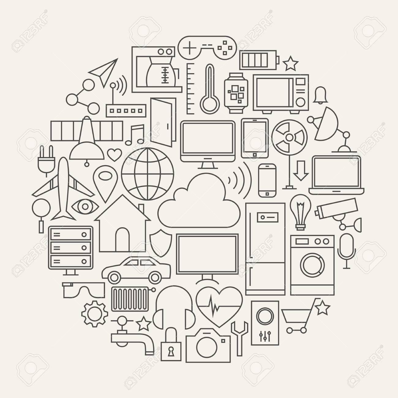Foto De Archivo   Internet De Las Cosas Forma Línea Set De Iconos De  Círculo. Ilustración Del Vector De La Casa Inteligente Tecnología Moderna  Objetos.