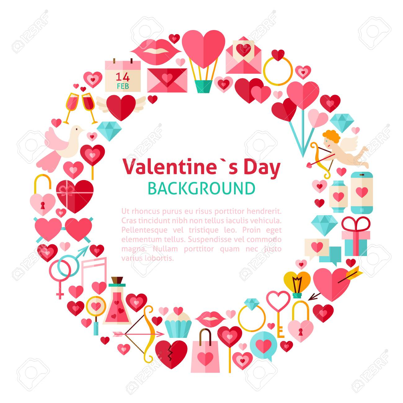 Flat Style Vector Circle Template Collection Of Valentines Day ...