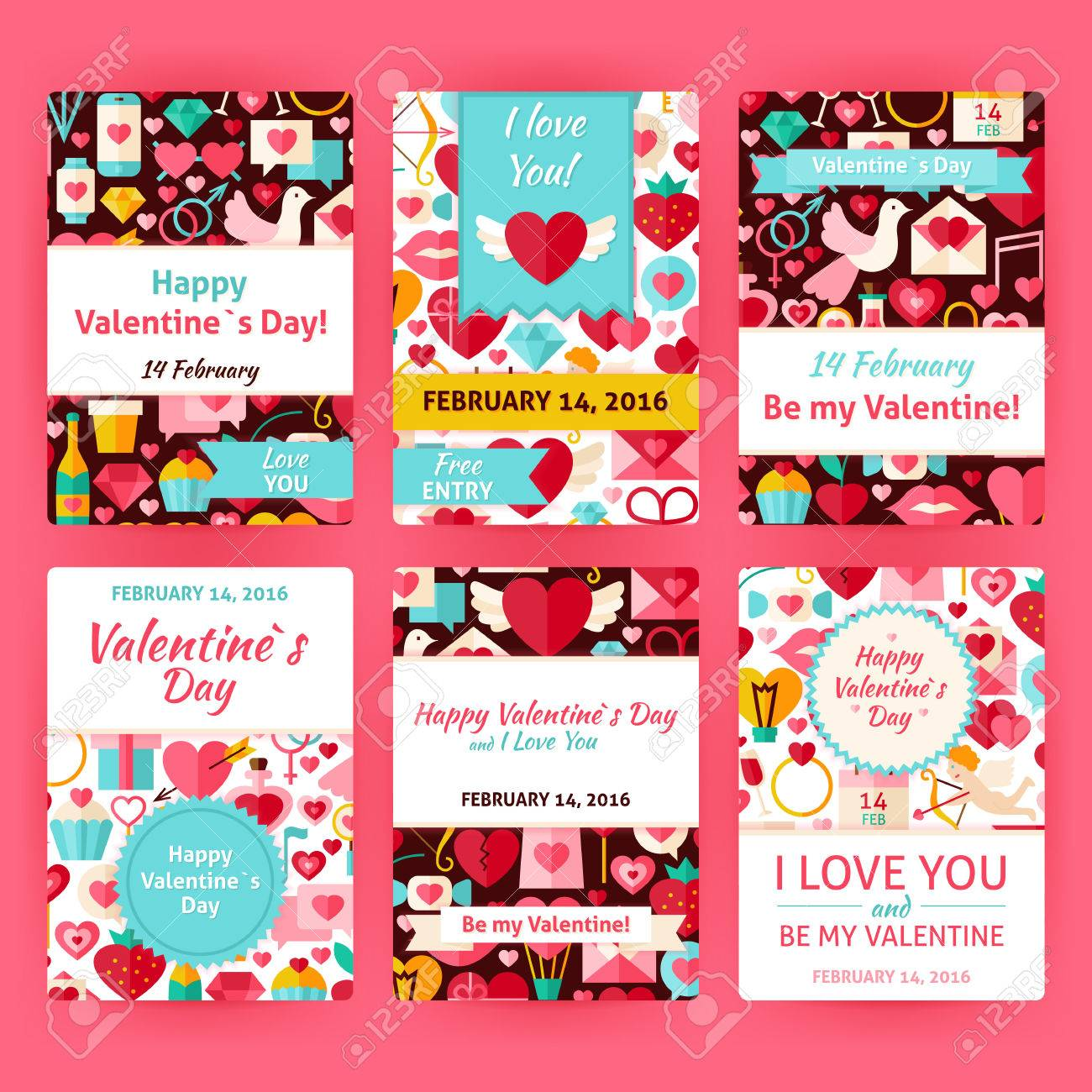 Happy Valentine Day-Einladungs-Schablone Set. Flache Design Vector ...